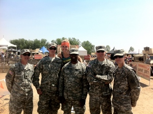 Hanging with some of the Army Volunteers who cheered us racers on at Merrell Down and Dirty